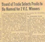 Newspaper Clipping– news article shortly after World War 2 announcing that mountains near Nelson, B.C. were to be named after Victoria Cross winners Fritz Peters and Hammy Gray