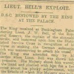 Newspaper Clipping– British newspaper article about DSO presented to Fritz by King George V