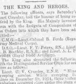 Newspaper clipping– news of receiving DSO from King George the Fifth