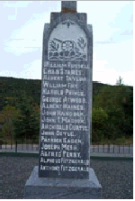 Monument– Meschack Euan Stares is commemorated on this monument in  Summerville, Newfoundland.