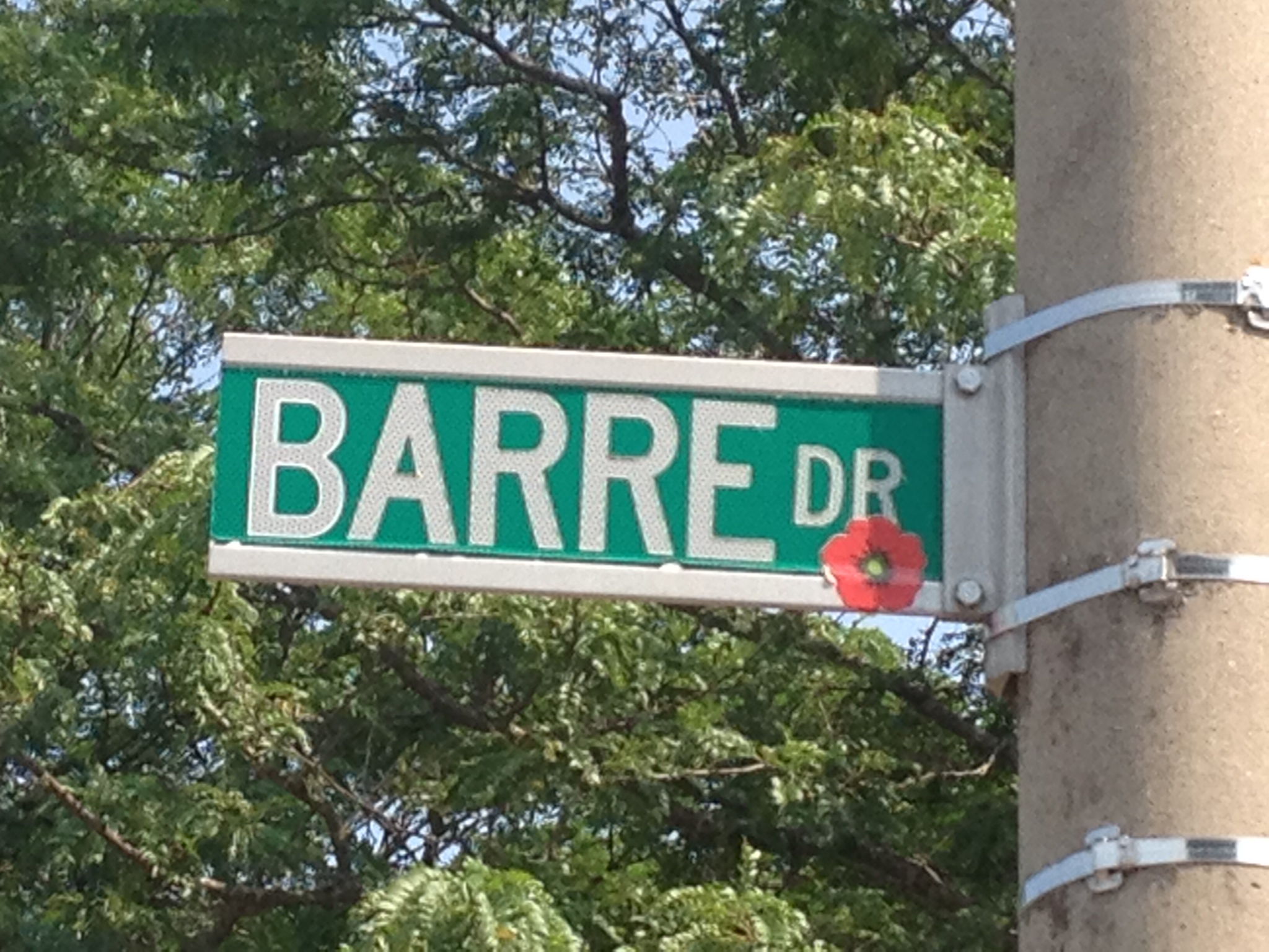 Street sign– Street named in honour of Sub-Lieutenant (E) James Gordon Barre with a poppy.