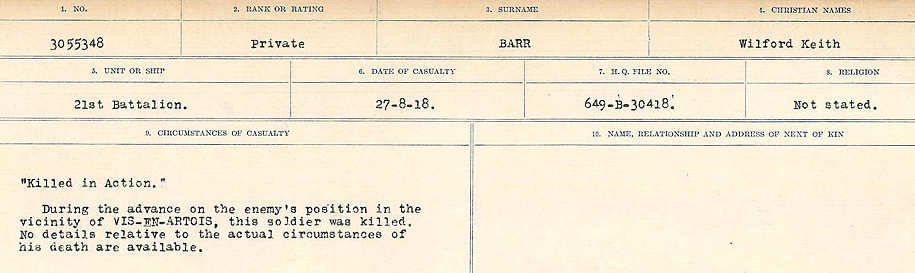 Circumstances of Death– Source: Library and Archives Canada.  CIRCUMSTANCES OF DEATH REGISTERS, FIRST WORLD WAR Surnames:  Bark to Bazinet. Mircoform Sequence 6; Volume Number 31829_B016716. Reference RG150, 1992-93/314, 150.  Page 383 of 1058.