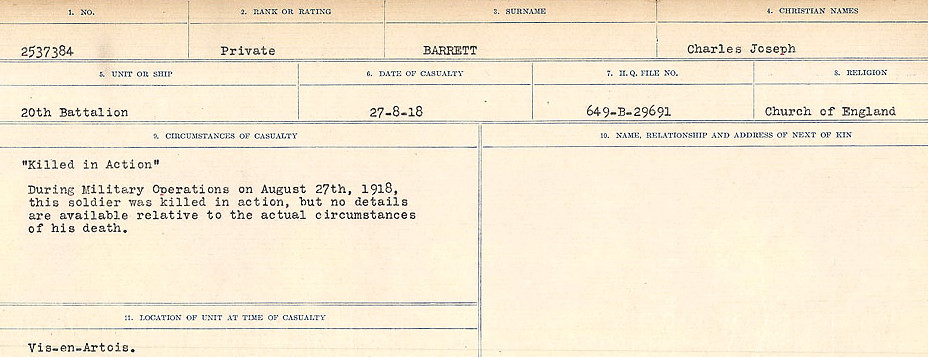 Circumstances of Death– Source: Library and Archives Canada.  CIRCUMSTANCES OF DEATH REGISTERS, FIRST WORLD WAR Surnames:  Bark to Bazinet. Mircoform Sequence 6; Volume Number 31829_B016716. Reference RG150, 1992-93/314, 150.  Page 417 of 1058.