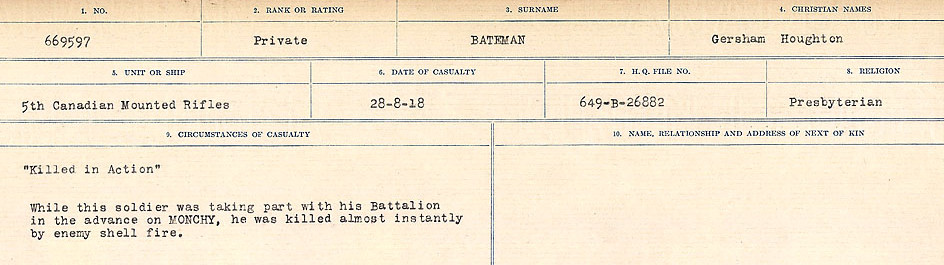Circumstances of Death Registers– Source: Library and Archives Canada.  CIRCUMSTANCES OF DEATH REGISTERS, FIRST WORLD WAR Surnames:  Bark to Bazinet. Mircoform Sequence 6; Volume Number 31829_B016716. Reference RG150, 1992-93/314, 150.  Page 789 of 1058.