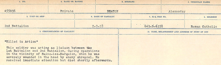 Newspaper clipping– Source: Library and Archives Canada.  CIRCUMSTANCES OF DEATH REGISTERS FIRST WORLD WAR Surnames:  Bea to Belisle. Mircoform Sequence 7; Volume Number 31829_B016717. Reference RG150, 1992-93/314, 151.  Page 147 of 724.