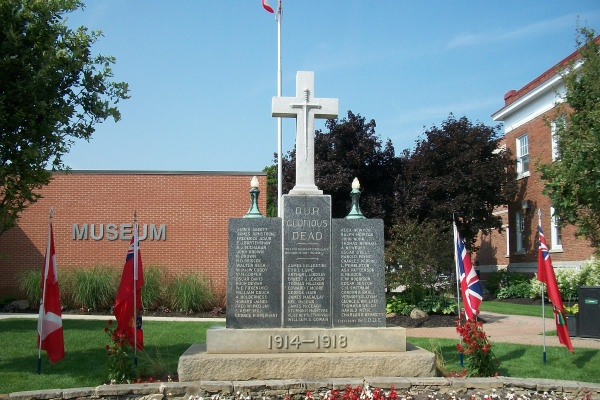Cenotaph– Private Walter Treleaven Beer is also commemorated on the cenotaph in Strathroy, ON … photo courtesy of Marg Liessens