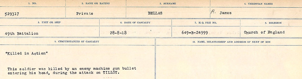 Circumstances of Death– Source: Library and Archives Canada.  CIRCUMSTANCES OF DEATH REGISTERS FIRST WORLD WAR Surnames:  Bell to Bernaquez.  Mircoform Sequence 8; Volume Number 31829_B016718; Reference RG150, 1992-93/314, 152 Page 257 of 670.