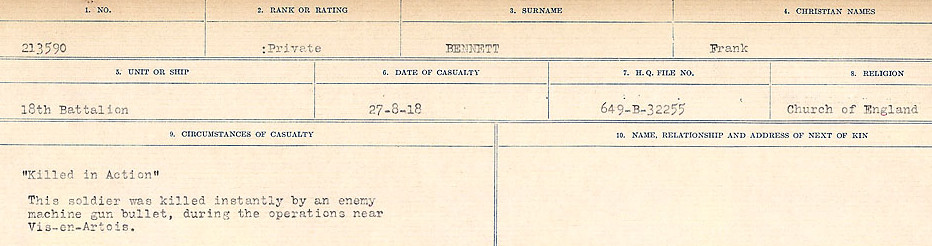 Circumstances of Death– Source: Library and Archives Canada.  CIRCUMSTANCES OF DEATH REGISTERS FIRST WORLD WAR Surnames:  Bell to Bernaquez.  Mircoform Sequence 8; Volume Number 31829_B016718; Reference RG150, 1992-93/314, 152 Page 425 of 670
