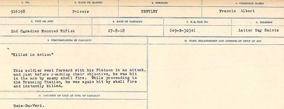 Circumstances of Death– Source: Library and Archives Canada.  CIRCUMSTANCES OF DEATH REGISTERS FIRST WORLD WAR Surnames:  Bell to Bernaquez.  Mircoform Sequence 8; Volume Number 31829_B016718; Reference RG150, 1992-93/314, 152 Page 581 of 670
