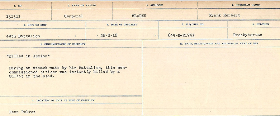 Circumstances of Death Registers– Source: Library and Archives Canada.  CIRCUMSTANCES OF DEATH REGISTERS FIRST WORLD WAR Surnames: Birch to Blakstad. Mircoform Sequence 10; Volume Number 31829_B034746; Reference RG150, 1992-93/314, 154 Page 559 of 734