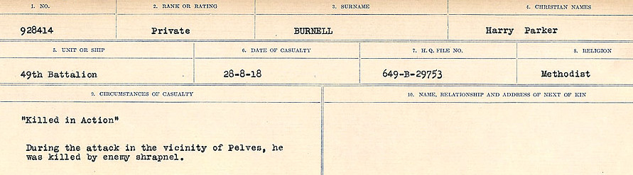 Circumstances of Death Registers– Source: Library and Archives Canada.  CIRCUMSTANCES OF DEATH REGISTERS, FIRST WORLD WAR Surnames:  Burbank to Bytheway. Microform Sequence 16; Volume Number 31829_B016725. Reference RG150, 1992-93/314, 160.  Page 257 of 926.