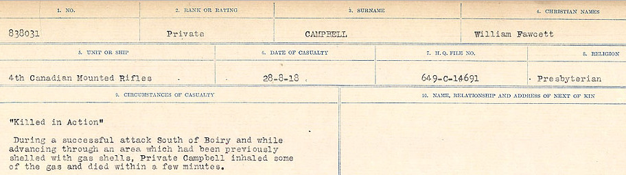 Circumstances of Death Registers– Source: Library and Archives Canada.  CIRCUMSTANCES OF DEATH REGISTERS, FIRST WORLD WAR Surnames:  Cabana to Campling. Microform Sequence 17; Volume Number 31829_B016726. Reference RG150, 1992-93/314, 161.  Page 1003 of 1024
