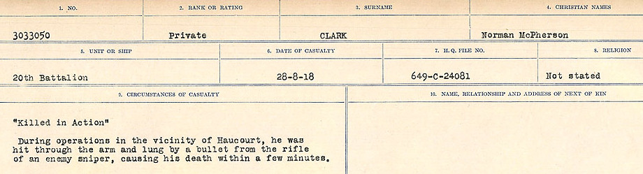 Circumstances of Death Registers– Source: Library and Archives Canada.  CIRCUMSTANCES OF DEATH REGISTERS, FIRST WORLD WAR Surnames:  CHILD TO CLAYTON.  Microform Sequence 20; Volume Number 31829_B016729. Reference RG150, 1992-93/314, 164.  Page 665 of 1068.