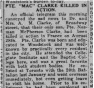 Newspaper clipping– News clipping from the Daily Sentinel-Review regarding the death of Private Norman McPherson Clark, reg. no. 3033050.Daily Sentinel-Review. September 14, 1918.  Contributed by E.Edwards www.18thbattalioncef.wordpress.com
