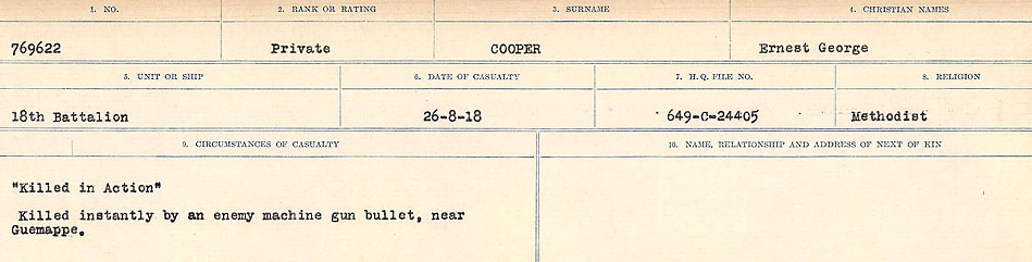 Circumstances of Death Registers– Source: Library and Archives Canada.  CIRCUMSTANCES OF DEATH REGISTERS, FIRST WORLD WAR Surnames:  CONNON TO CORBETT.  Microform Sequence 22; Volume Number 31829_B016731. Reference RG150, 1992-93/314, 166.  Page 553 of 818