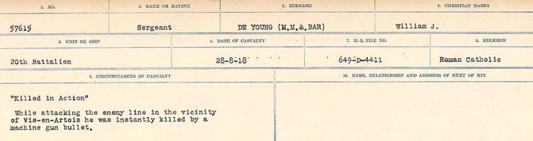 Circumstances of death registers– Source: Library and Archives Canada. CIRCUMSTANCES OF DEATH REGISTERS, FIRST WORLD WAR. Surnames: Deuel to Domoney. Microform Sequence 28; Volume Number 31829_B016737. Reference RG150, 1992-93/314, 172. Page 203 of 1084.