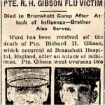 Newspaper Article– Pte. Robert James Gibson is mentioned in this article announcing the death of his younger brother.