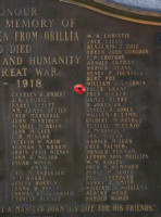 Cenotaph– Private Roger Elchies Grant is also commemorated on the WWI cenotaph in Orillia, ON … photo courtesy of Marg Liessens