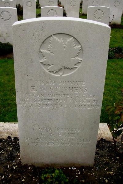 Grave Marker– Grave marker - Vis-en-Artois British Cemetery … photo courtesy of Marg Liessens