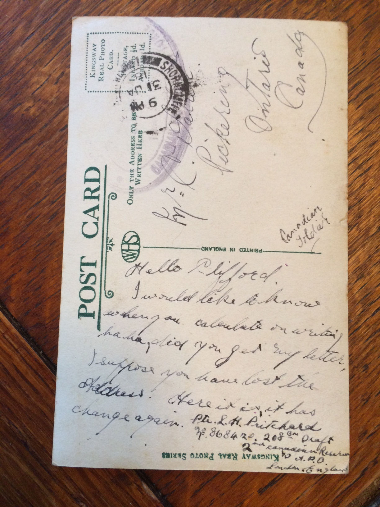 Post Card– Letter written to his friend Clifford in Pickering, Ont