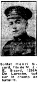 Newspaper clipping– La Presse 15 October 1918