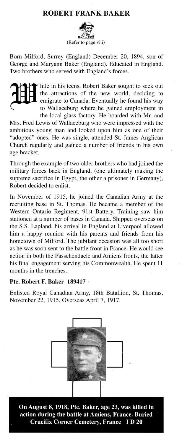 """Document– Excerpt from No Return Ticket - Wallaceburg's War Casualties and Selected Wartime Memories"""", by Alan Mann about this soldier."""
