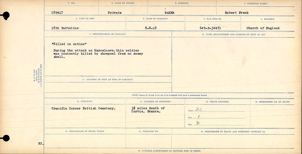 """Circumstances of Death Registers– """"Killed in Action."""" During the attack on Marcelcave, this soldier was instantly killed by shrapnel from an enemy shell."""