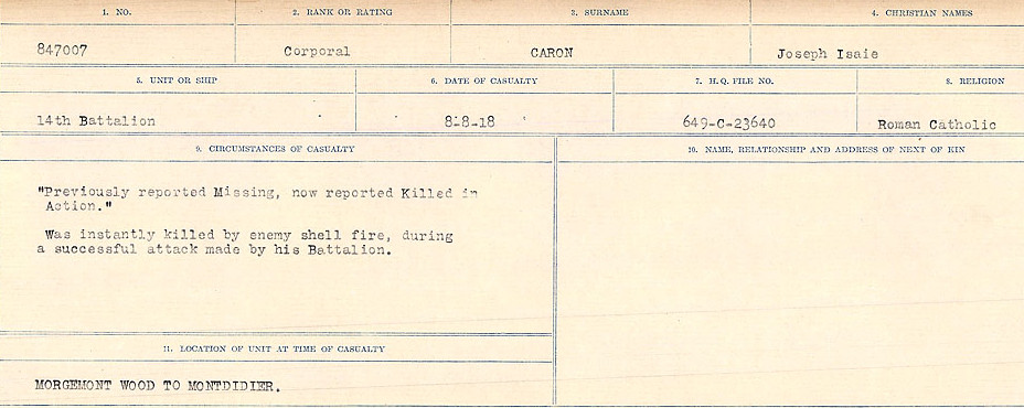 Circumstances of Death Registers– Source: Library and Archives Canada.  CIRCUMSTANCES OF DEATH REGISTERS, FIRST WORLD WAR Surnames:  Canavan to Caswell. Microform Sequence 18; Volume Number 31829_B016727. Reference RG150, 1992-93/314, 162.  Page 371 of 1004.