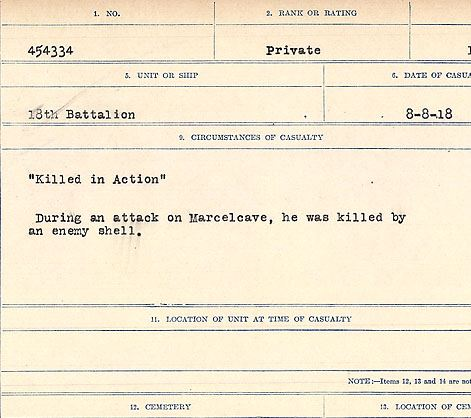 """Circumstances of death registers– """"Killed in Action"""" During an attack on Marcelcave, he was killed by an enemy shell. Contributed by E.Edwards www.18thbattalioncef.wordpress.com"""