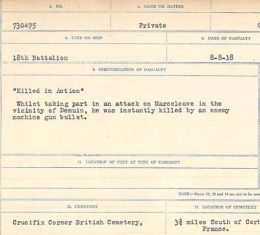 """Circumstances of death registers– """"Killed in Action"""" Whilst taking part in an attack on Marcelcave in the vicinity of Demuin, he was instantly killed by an enemy machine gun bullet.Contributed by E.Edwards www.18thbattalioncef.wordpress.com"""