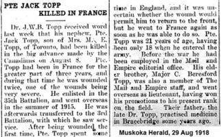 Newspaper clipping– Muskoka Herald 20-Aug-1918