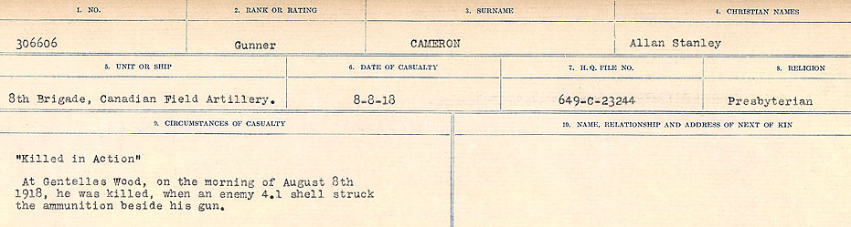 Circumstances of Death Registers– Source: Library and Archives Canada.  CIRCUMSTANCES OF DEATH REGISTERS, FIRST WORLD WAR Surnames:  Cabana to Campling. Microform Sequence 17; Volume Number 31829_B016726. Reference RG150, 1992-93/314, 161.  Page 345 of 1024.
