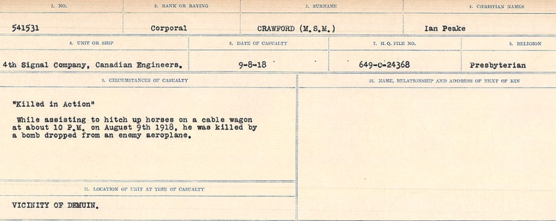 Circumstances of death registers– Source: Library and Archives Canada. CIRCUMSTANCES OF DEATH REGISTERS, FIRST WORLD WAR Surnames: CRABB TO CROSSLAND Microform Sequence 24; Volume Number 31829_B016733. Reference RG150, 1992-93/314, 168. Page 339 of 788.
