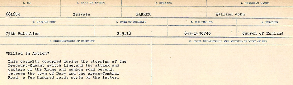 Circumstances of Death Registers– Source: Library and Archives Canada.  CIRCUMSTANCES OF DEATH REGISTERS, FIRST WORLD WAR Surnames:  Bark to Bazinet. Mircoform Sequence 6; Volume Number 31829_B016716. Reference RG150, 1992-93/314, 150.  Page 61 of 1058.