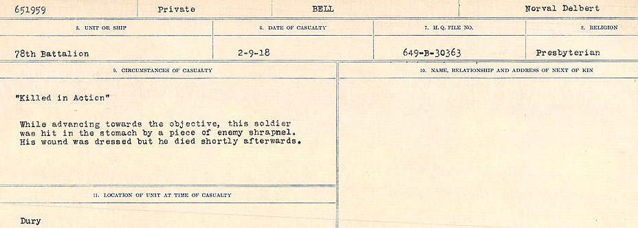 Circumstances of Death Registers– Source: Library and Archives Canada.  CIRCUMSTANCES OF DEATH REGISTERS FIRST WORLD WAR Surnames: Bell to Bernaquez.  Mircoform Sequence 8; Volume Number 31829_B016718; Reference RG150, 1992-93/314, 152 Page 163 of 670
