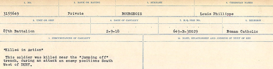 Circumstances of Death Registers– Source: Library and Archives Canada.  CIRCUMSTANCES OF DEATH REGISTERS FIRST WORLD WAR Surnames: Border to Boys. Mircoform Sequence 12; Volume Number 131829_B016721; Reference RG150, 1992-93/314, 156 Page 331 of 934