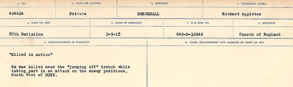 Circumstances of Death Registers– Source: Library and Archives Canada.  CIRCUMSTANCES OF DEATH REGISTERS, FIRST WORLD WAR Surnames:  Burbank to Bytheway. Microform Sequence 16; Volume Number 31829_B016725. Reference RG150, 1992-93/314, 160.  Page 45 of 926.