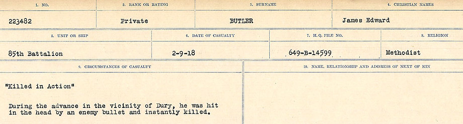 Circumstances of Death Registers– Source: Library and Archives Canada.  CIRCUMSTANCES OF DEATH REGISTERS, FIRST WORLD WAR Surnames:  Burbank to Bytheway. Microform Sequence 16; Volume Number 31829_B016725. Reference RG150, 1992-93/314, 160.  Page 781 of 926.