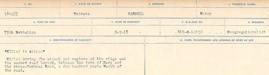 Circumstances of Death Registers– Source: Library and Archives Canada.  CIRCUMSTANCES OF DEATH REGISTERS, FIRST WORLD WAR Surnames:  Canavan to Caswell. Microform Sequence 18; Volume Number 31829_B016727. Reference RG150, 1992-93/314, 162.  Page 507 of 1004.