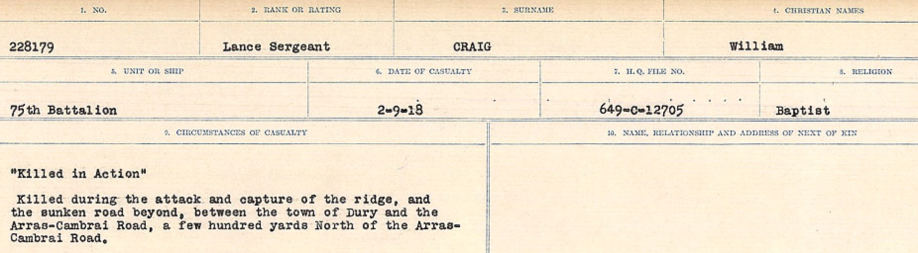 Circumstances of Death Registers– Source: Library and Archives Canada. CIRCUMSTANCES OF DEATH REGISTERS, FIRST WORLD WAR Surnames: CRABB TO CROSSLAND Microform Sequence 24; Volume Number 31829_B016733. Reference RG150, 1992-93/314, 168. Page 133 of 788.