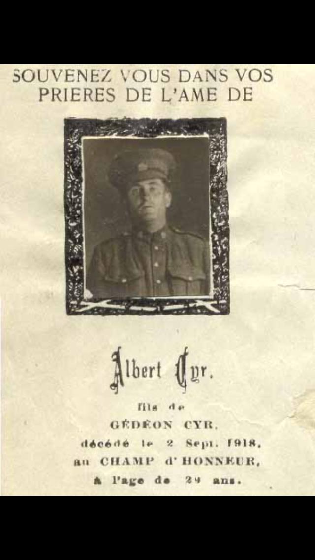 Mémorial – Carte mortuaire du Caporal Cyr