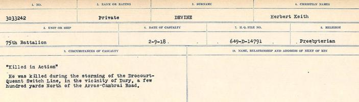 Circumstances of death registers– Source: Library and Archives Canada. CIRCUMSTANCES OF DEATH REGISTERS, FIRST WORLD WAR. Surnames: Deuel to Domoney. Microform Sequence 28; Volume Number 31829_B016737. Reference RG150, 1992-93/314, 172. Page 57 of 1084.