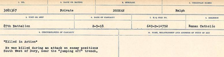 Circumstances of death registers– Source: Library and Archives Canada. CIRCUMSTANCES OF DEATH REGISTERS, FIRST WORLD WAR. Surnames: Don to Drzewiecki. Microform Sequence 29; Volume Number 31829_B016738. Reference RG150, 1992-93/314, 173. Page 235 of 1076.