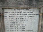 Inscription– Memorial bearing the name of Lieutenant Grant, located in Somerled Square, Portree, Isle of Skye, Scotland