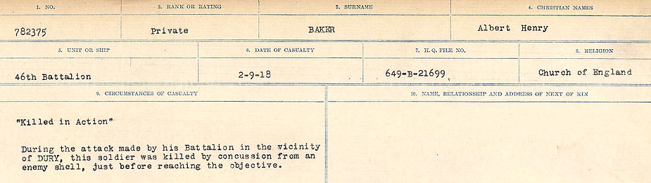 Circumstances of Death Registers– Source: Library and Archives Canada.  CIRCUMSTANCES OF DEATH REGISTERS, FIRST WORLD WAR Surnames:  Babb to Barjarow. Microform Sequence 5; Volume Number 31829_B016715. Reference RG150, 1992-93/314, 149.  Page 401 of 1072.