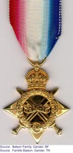 1914-1915 Star– 1914-1915 Star donated by the Batson family of Gander, Newfoundland.