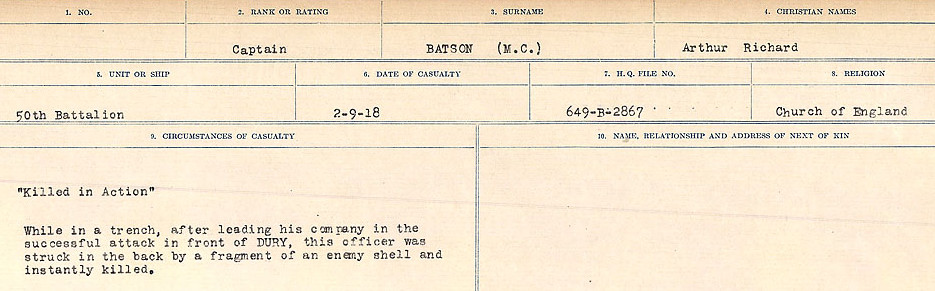 Circumstances of Death Registers– Source: Library and Archives Canada.  CIRCUMSTANCES OF DEATH REGISTERS, FIRST WORLD WAR Surnames:  Bark to Bazinet. Mircoform Sequence 6; Volume Number 31829_B016716. Reference RG150, 1992-93/314, 150.  Page 887 of 1058.