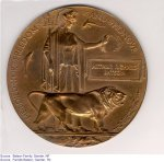 """Memorial plaque– """"Memorial plaque sent to Arthur's parents after his death in the First  World War."""""""