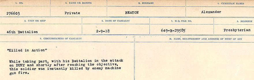 Circumstances of Death– Source: Library and Archives Canada.  CIRCUMSTANCES OF DEATH REGISTERS FIRST WORLD WAR Surnames:  Bea to Belisle. Mircoform Sequence 7; Volume Number 31829_B016717. Reference RG150, 1992-93/314, 151.  Page 143 of 724.