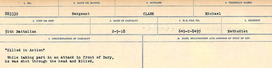 Circumstances of Death Registers– Source: Library and Archives Canada.  CIRCUMSTANCES OF DEATH REGISTERS, FIRST WORLD WAR Surnames:  CHILD TO CLAYTON.  Microform Sequence 20; Volume Number 31829_B016729. Reference RG150, 1992-93/314, 164.  Page 659 of 1068.